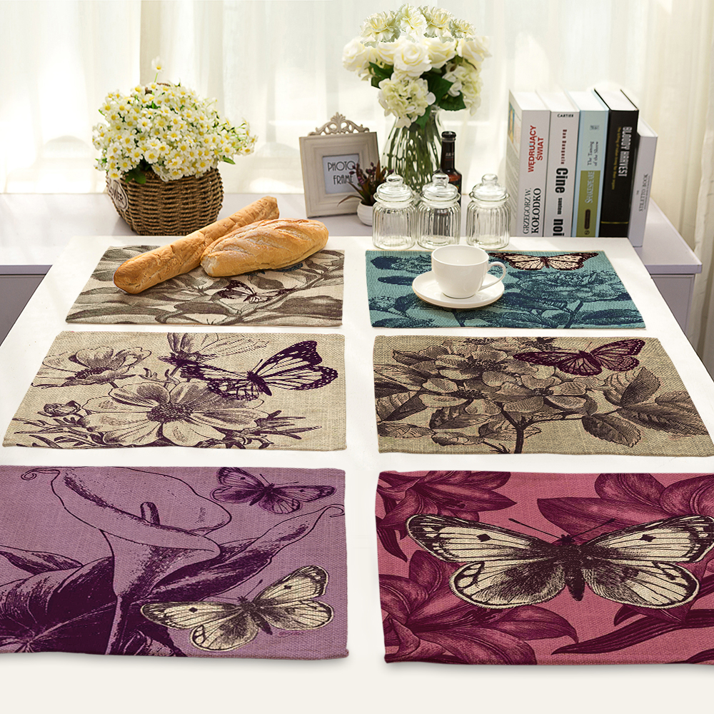 Art butterfly printing Waterproof Non-Slip Placemat Table Mat Cabinet Closet Kitchen Drawer Tableware Pad Mat Desk Decoration