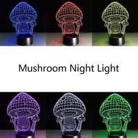 Creative 7 Colors Mushroom Lamp 3D Night Light LED Table Desk Lampara Home Decor Bedroom Reading