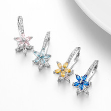 925 Sterling Silver New fashion Snowflake style Zircon Diamond Earrings for women Horse Eye flowers Multi color trendy Jewelry
