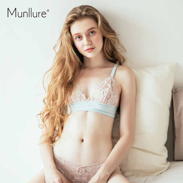 Munllure No rims stitching ultra-thin lace transparent beauty underwear  women bow bra set 161ec4db4