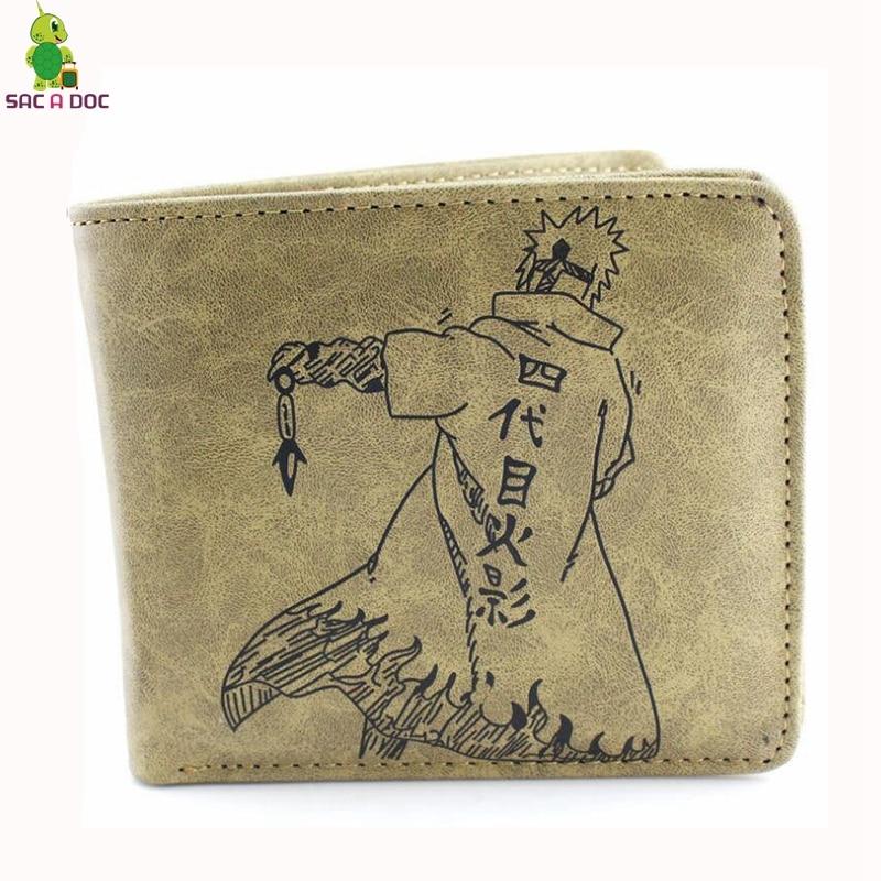 Anime Naruto Namikaze Minato Wallet Short Women Men Short Clutch Purses Pu Leather Credit Card Holders Slim Wallet Money Bag wallet