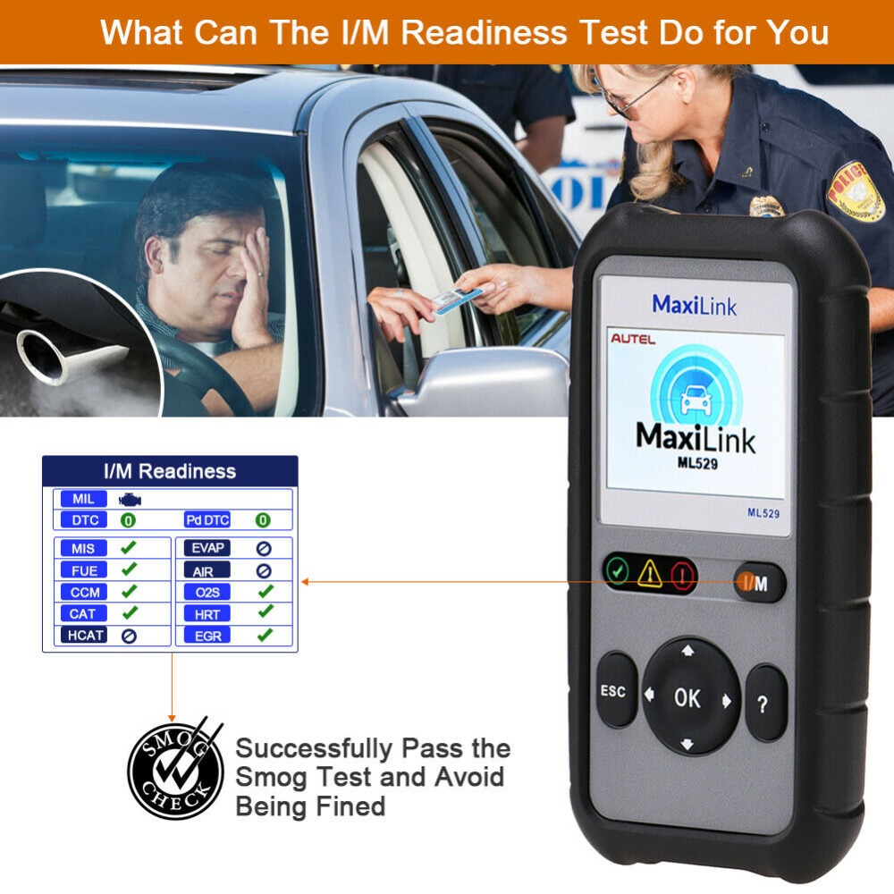 Autel MaxiLink ML529 OBD2 Scanner Diagnostic Tool OBDII OBD OBD2 Auto Check Engine Light DIY Fault Code Reader As AL529 PK AL519