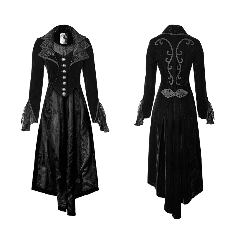 Moda donna nera gotica del merletto lungo dress cappotto steampunk cosplay manica lunga cappotti giacca