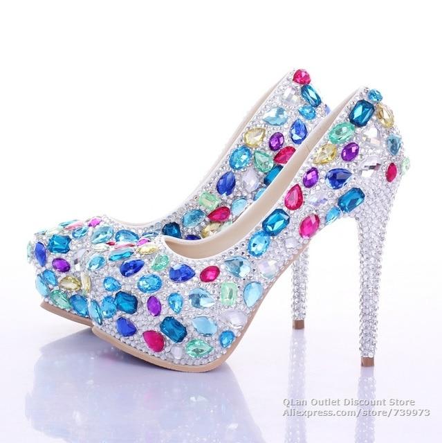 822a92586 10 12 14cm Crystal wedding shoes Sapphire sky blue pink purple turquoise  wedding shoe clear rhinestone high heels prom QL SJW333