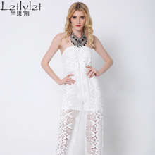 Lztlylzt Women Sexy White Lace Jumpsuit Sleeveless Halter Backless Sexy Clubwear Rompers Women Party Sexy Jumpsuit