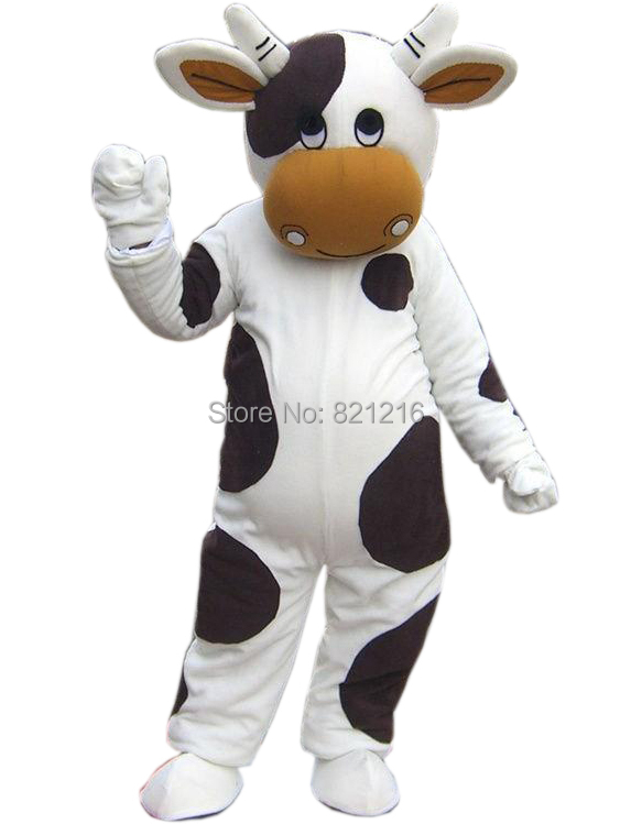 White And Black Milk Cow Mascot Costume Fancy Dress costumes Adult Suit Size for Halloween party