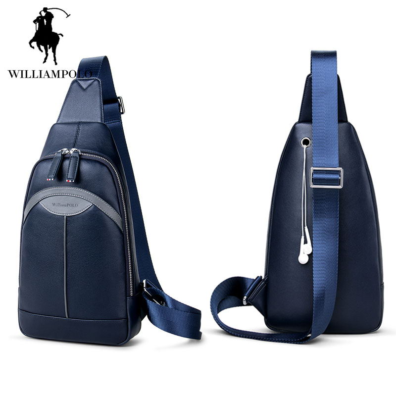 2017 Brand Famous Casual Chest Bags for Men Crossbody Bags High Quality Genuine Leather Blue Rucksack Messenger Bag Male Flap