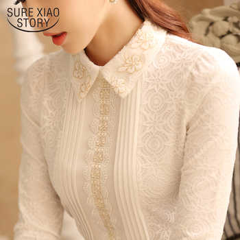 2019 autumn and winter lace women tops and blouses solid floral female shirts long sleeved elegant ladies feminine blusa 812B 45 - DISCOUNT ITEM  33% OFF All Category