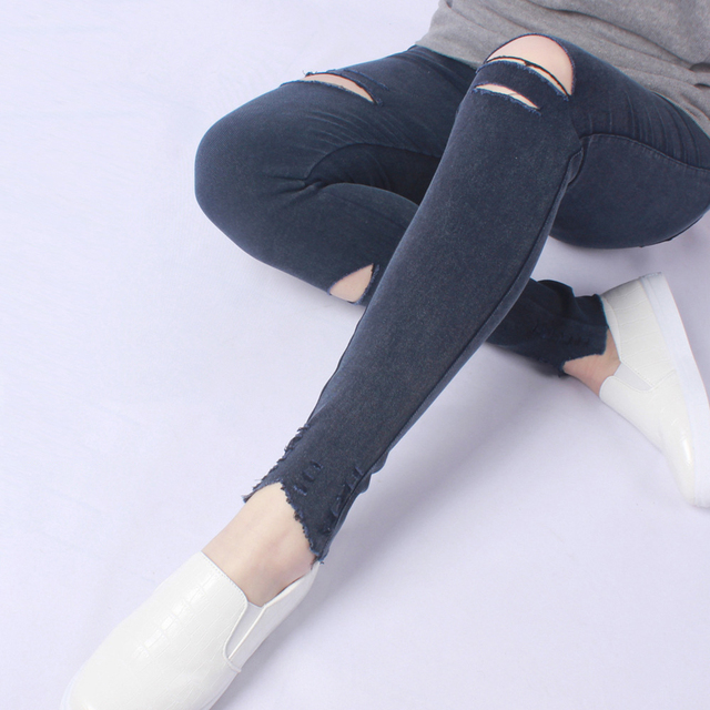 Yesello Plus Size M-5XL Summer Hole Ripped Jeans Women Jeggings Cool Denim High Waist Skinny Jeans Pants Pencil Trousers Black 3