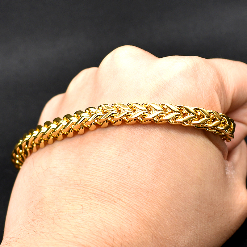 AMUMIU Gold Color Chain Link Bracelet 2017 Stainless Steel Hot Sale 24cmx6mm KB096