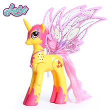 Lanyitoys Magic Rainbow ponies toys My little ponies action figure anime for children birthday Gifts 10inch Unicorn with music printio кружка morning ponies