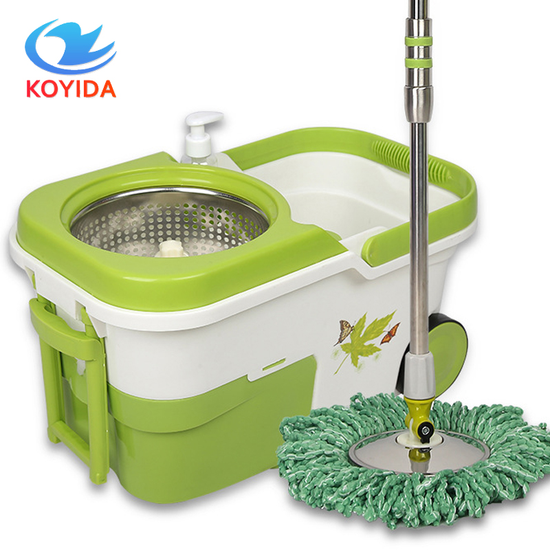 KOYIDA Spin <font><b>Mop</b></font> Bucket Double-Drive Stainless Steel Hand Press 360 Magic <font><b>Mop</b></font> Rotating <font><b>Mop</b></font> with Wheels Household Floor Cleaning