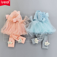 IYEAL Fashion Cute Princess Baby Girl Clothes Sets For Children Autumn Mesh Dresses Pants Toddler Kids