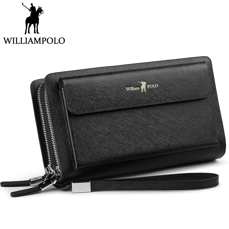 WILLIAMPOLO Men Clutch Bag Wallet Genuine Leather Strap Flap Clutches with 21 Card Holder 2018 New Elegant Handy Wallet For Male williampolo men s clutch wallet handy strap clutch bag genuine leather long wallet card holder 2018 fashion plaid purse for men