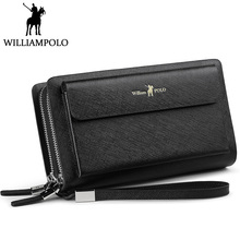 hot deal buy williampolo men clutch bag wallet genuine leather strap flap clutches with 21 card holder 2018 new elegant handy wallet for male