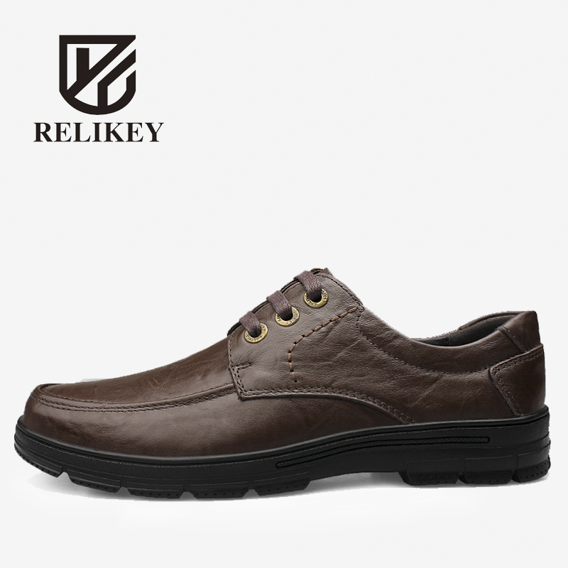 Men Dress Shoes Cow Leather Round Toe Male Flats Handmade Lace-up RELIKEY Brand Spring Casual Oxfords Wedding Shoes for Men customize italian style handmade men s carved genuine leather shoes goodyear round toe lace up dress wedding prom oxfords shoes
