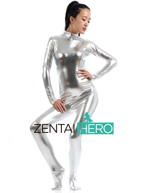 Free Shipping DHL Halloween Costumes Shiny Metallic Zentai Unisex Catsuit Sexy Silver Color Back Zipper Jumpsuit SHS004