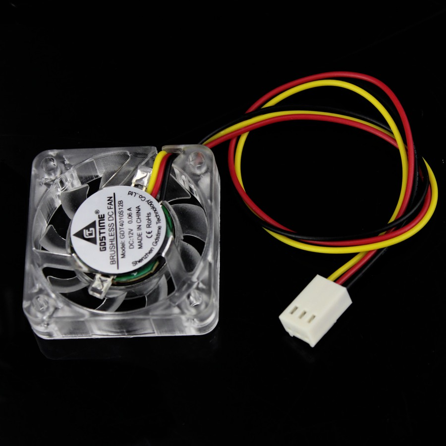 Gdstime Dc 12v 3 Pin 40mm 40x40x10mm Led Transparent Crystal Blue Computer Fan Wire Diagram Case Brushless Cooling In Fans From Office On