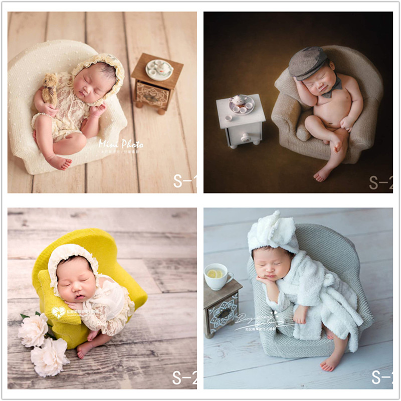 Newborn Photography Props Full Moon Baby Photography Sofa And Small Tea Table+ Teapot +teacup Creative Shooting Auxiliary Props