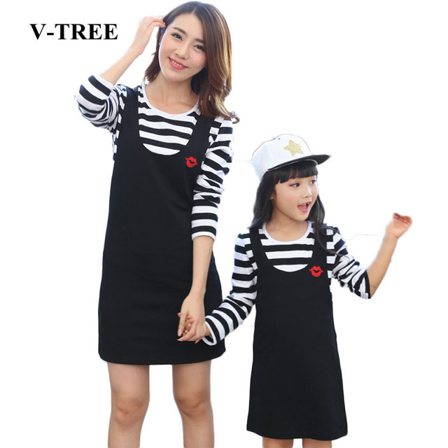 V-TREE Spring Mother Daughter Dresses Striped Family Matching Outfits Mom And Daughter Dress Girl Dress