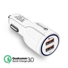 Carga rápida 3.0 carregador de carro para o telefone móvel duplo usb carregador de carro qualcomm qc 3.0 adaptador de carregamento rápido mini usb carregador de carro