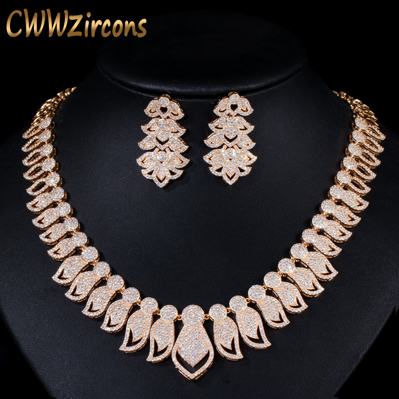 CWWZircons High Quality Micro Pave Cubic Zirconia Big African Dubai Gold Necklace Earrings Jewelry Sets for