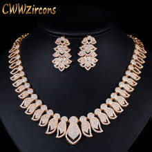 CWWZircons High Quality Micro Pave Cubic Zirconia Big African Dubai Gold Necklace Earrings Jewelry Sets for Women Wedding T238(China)