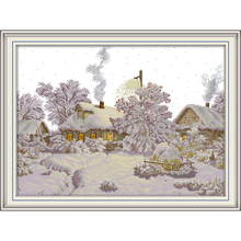 Joy Sunday Winter Village Chinese cross stitch kits Ecological cotton clear stamped printed 11CT DIY wedding decoration for home