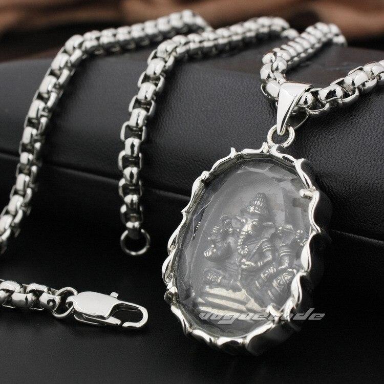 925 pendentif en argent Sterling Ganesh hindou seigneur dieu ovale recouvert de verre 8N020 (collier 24 pouces)