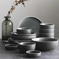 Brief Gray Ceramic Porcelain Rice Bowl Soup Bowl Steak Vegetables Plate Seasoning Dish Weidie Fruit Salad Saucer Tableware Set