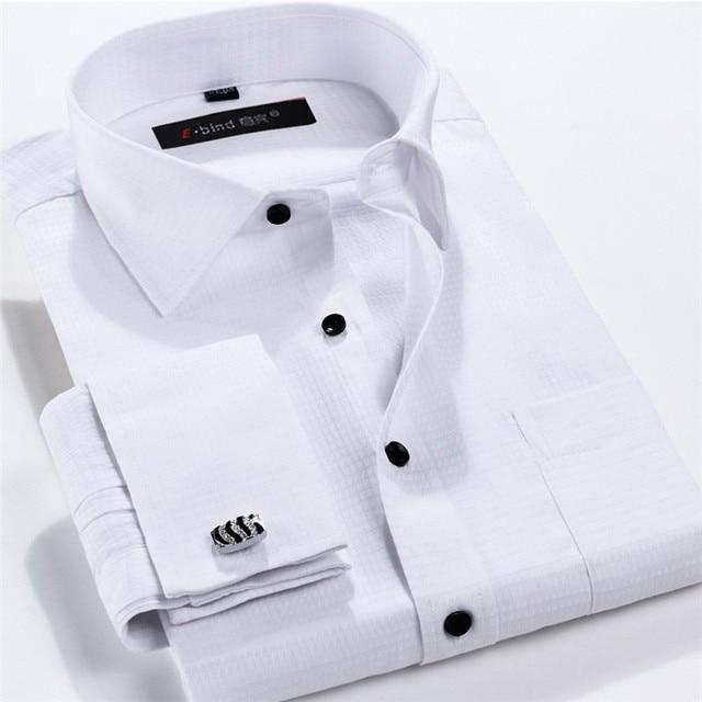 Мужчины Французский Рубашку Запонки 2016 Новый мужской Рубашка С Длинным Рукавом Случайно мужской Бренд Рубашки Slim Fit Французский Манжеты Рубашки Для Мужчин