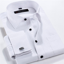 Men French Cufflinks Shirt 2016 New Men's Shirt Long Sleeve Casual Male Brand Shirts Slim Fit French Cuff Dress Shirts For Men