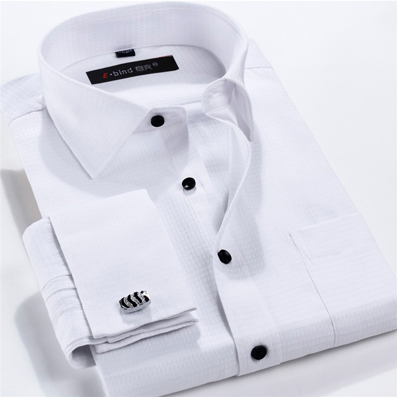 Men french cufflinks shirt 2016 new men 39 s shirt long White french cuff shirt slim fit