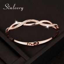 SINLEERY розовое золото цвет серебра талисман кубического циркония браслет с отверстиями для женщин крест браслеты ювелирные изделия SL217 SSC