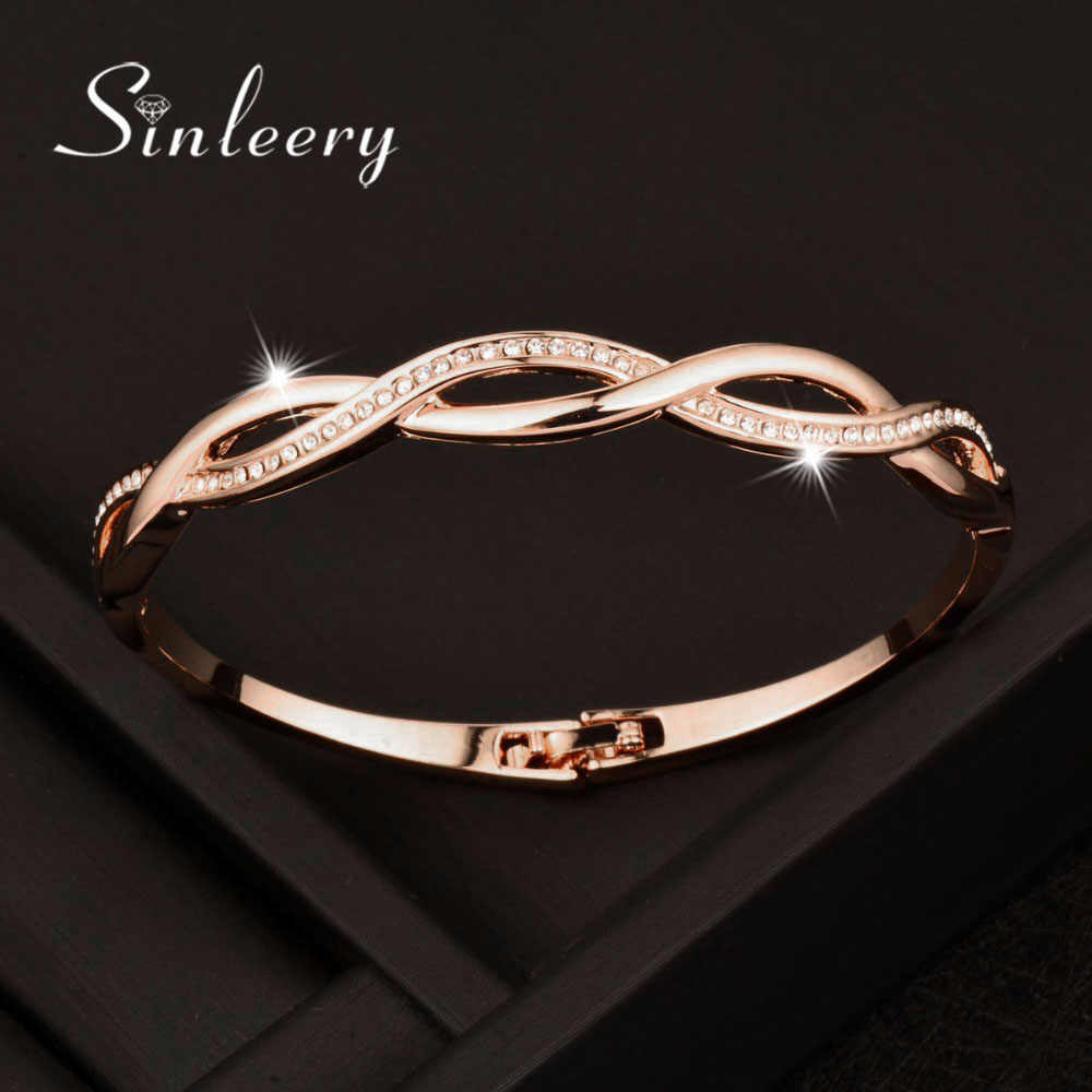 SINLEERY Rose Gold Silver Color Charm Cubic Zirconia Hollow Bangle For Women Cross Bracelets Jewelry Free Shipping SL217 SSC