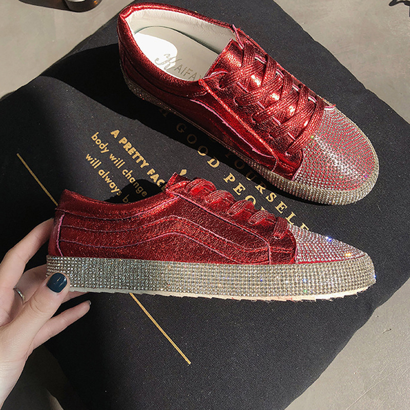 New Brand Women Canvas Shoes 2018 Fashion Crystal Lace Up Women Sneaker Woman Casual Comfortable Flats Footwear Breathable Flat real pic high color decorative rivets women casual shoes brand designer lace up comfortable women flats shoes woman