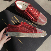 New Brand Women Canvas Shoes 2018 Fashion Crystal Lace Up Women Sneaker Woman Casual Comfortable Flats Footwear Breathable Flat