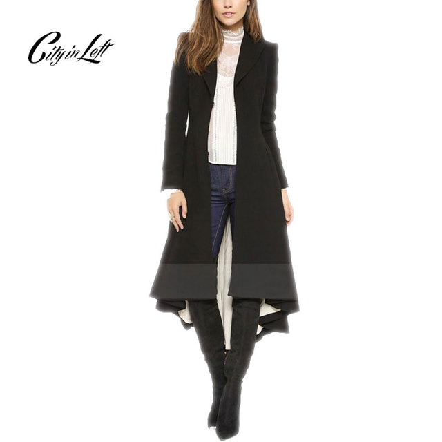 2016 Women Fashion Casual Trench Black Boyfriend Style X Long Dovetail Trench Long Sleeve Fashion Solid Color Trench Coat 745