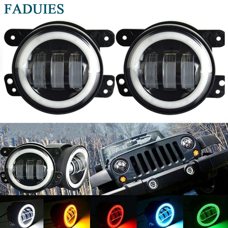 FADUIES 2PCS DOT 4Inch Round Wrangler Led Fog Light 30W 6000K White Halo Ring DRL Off Road Fog Lamps For Jeep Wrangler JK TJ LJ 2pcs 4inch round led fog lights 30w 6000k white halo ring drl off road fog lamps for jeep wrangler jk tj lj dodge journey