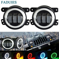 FADUIES 2PCS DOT 4Inch Round Wrangler Led Fog Light 30W 6000K White Halo Ring DRL Off Road Fog Lamps For Jeep Wrangler JK TJ LJ