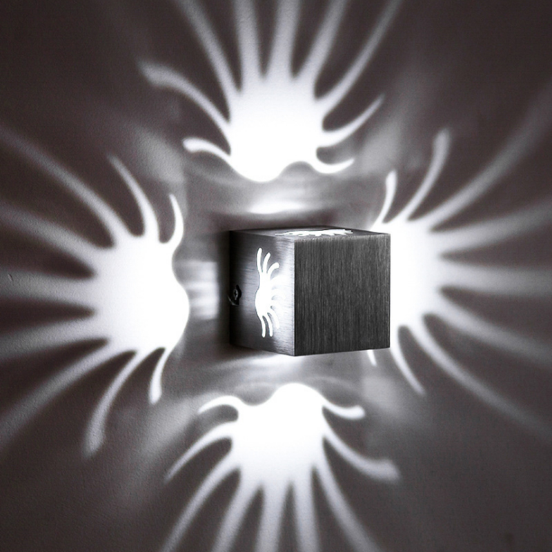 3W LED Palm Wall Lamp Light Fixture Wall Sconce Porch Brushed Aluminum AC85-265V for Bath Bedroom Living Room Hallway ...