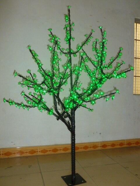 Бесплатная доставка Рождество новогодний декор зеленый cherry blossom дерево света 480 шт. светодиодные лампы 1.5 м высота 110/ 220vac прямой ствол