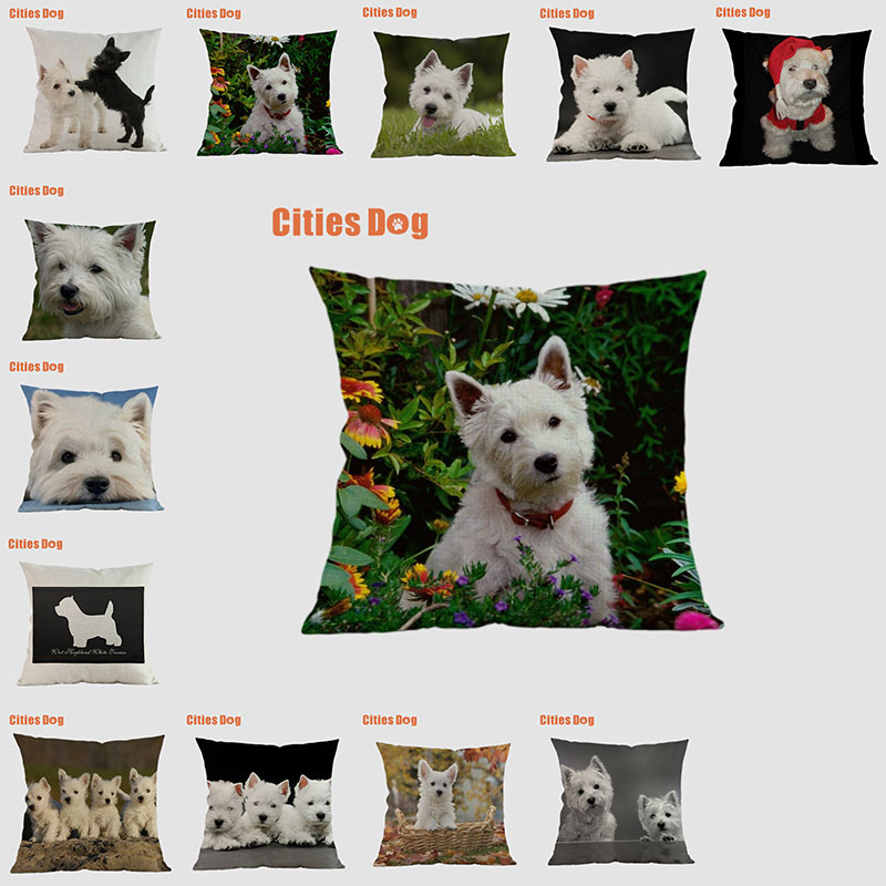 Dog pillow covers decorative cushion covers for sofa Pillows West Highland White Terrier pillowcase cushions cover home decor