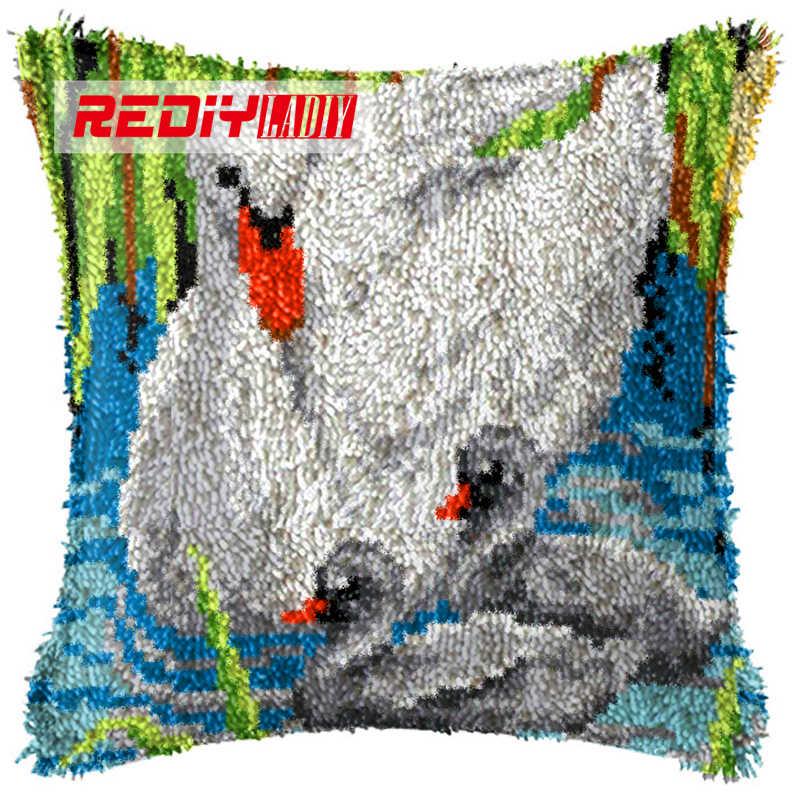LADIY защелки крюк набор подушек пряжа для чехол для подушки с вышивкой Лебедь и дети наволочка с аппликацией Подушка декоративная подушка для дома BZ887