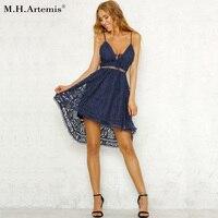 M H Artemis Elegant Straps Lace Dress Women Casual V Neck High Waist Irregular Summer Dress