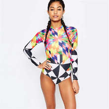 Long Sleeves Rash Guard Women Geometric Print Swimwear High Neck One Piece Swimsuit Brazilian Monokini Diving Surf Wetsuit Beach(China)