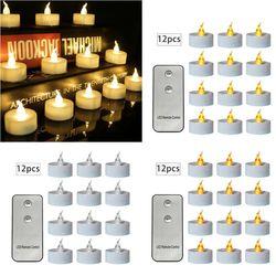 12 sztuk migotanie LED świeczki z pilotem zdalnego sterowania  bezpłomieniowy  elektryczny  Tealight na
