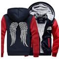 Homens inverno Camisola casaco de The Walking Dead Zombie Daryl Dixon Asas Treino zíper Com Capuz de Lã 2016 jaqueta engrossar para baixo mma