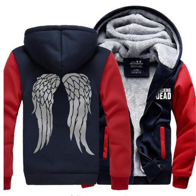 Men winter Sweatshirt The Walking Dead coat Zombie Daryl Dixon Wings Tracksuit zipper Fleece Hooded 2016 thicken jacket down mma
