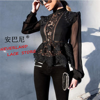 Self Portrait Lace Embroidery Bind Collar Lace Lantern Sleeve Blouse